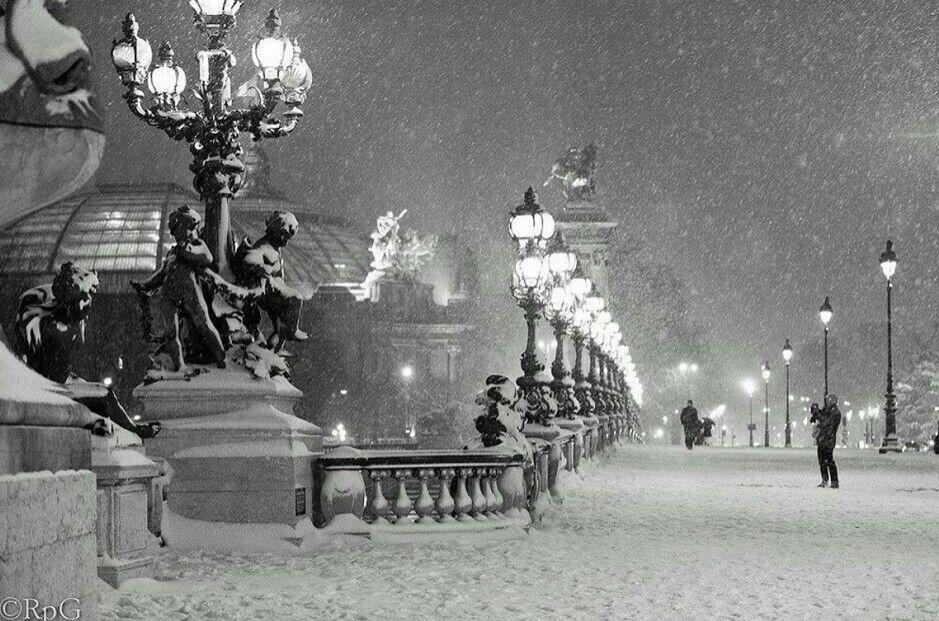Paris, Pont Alexandre lll, hiver neige ❄ winter snow ❄