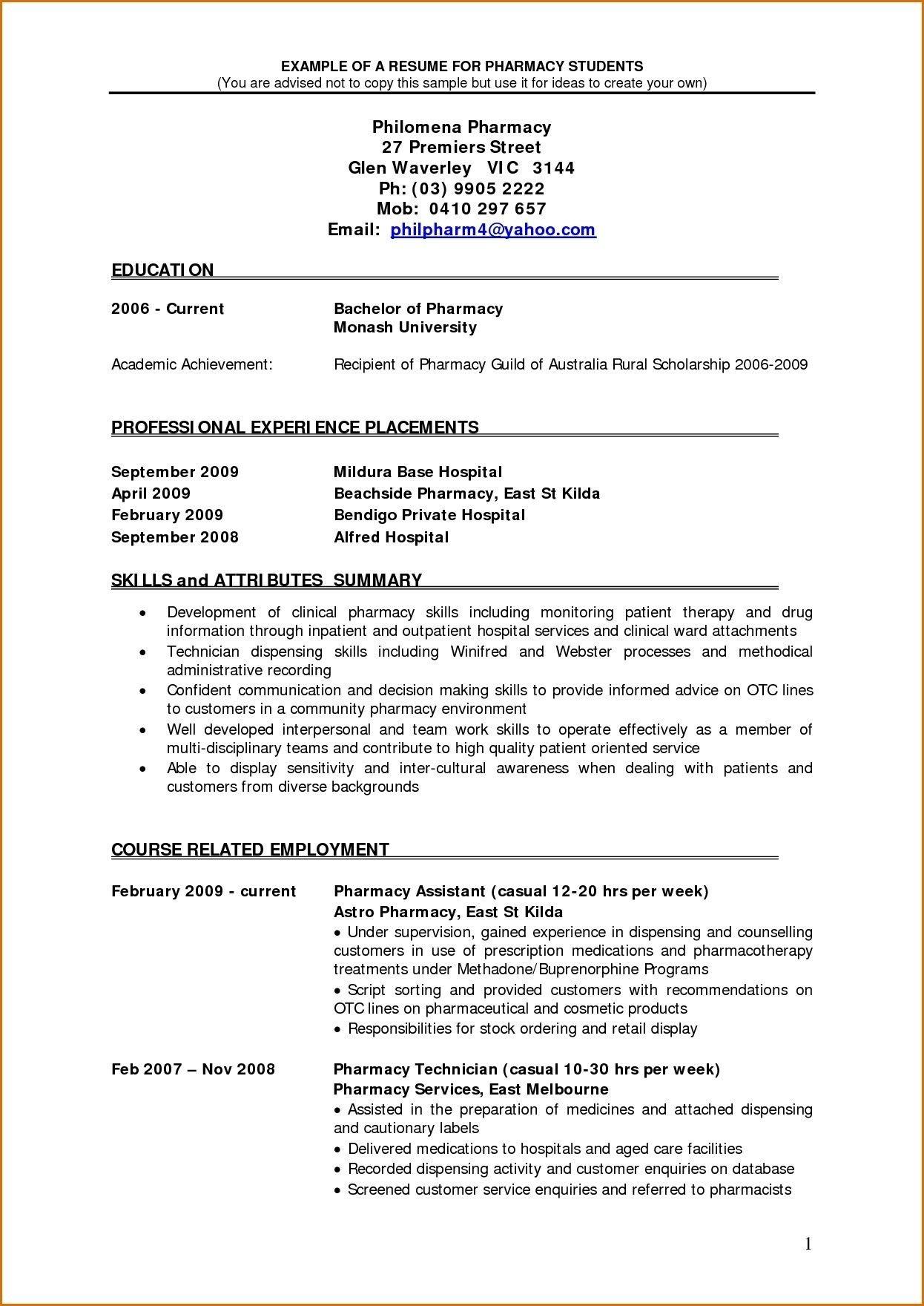 B Pharmacy Resume Format For Freshers Resume Resume Examples Resume Format