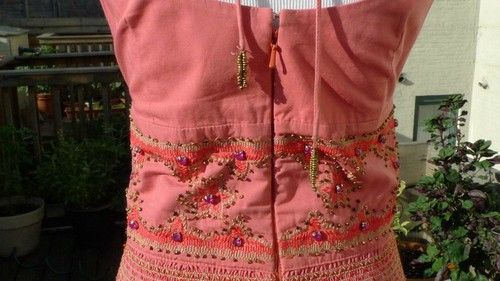 Plenty by Tracy Reese embroidered, jeweled and beaded salmon pink dress