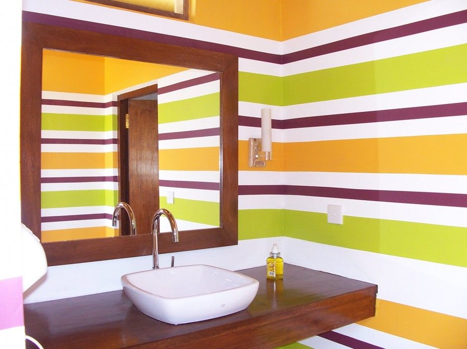 Decoration, Colorful Small Powder Room Ideas Designing Yellow And ...