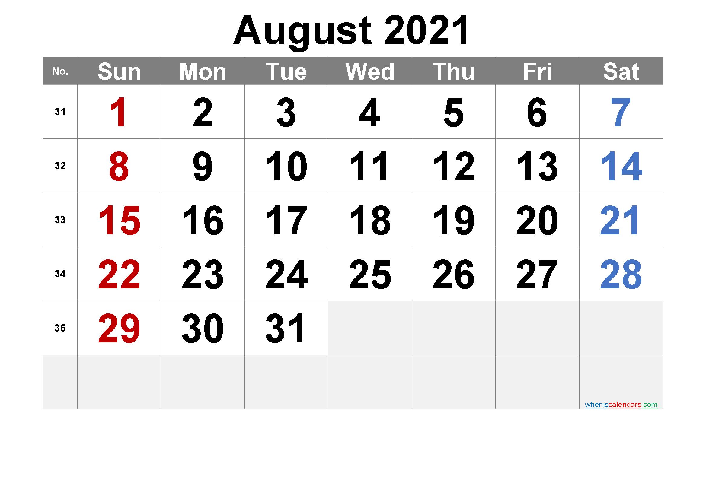 Free Printable August 2021 Calendar Free Premium in 2020 ...
