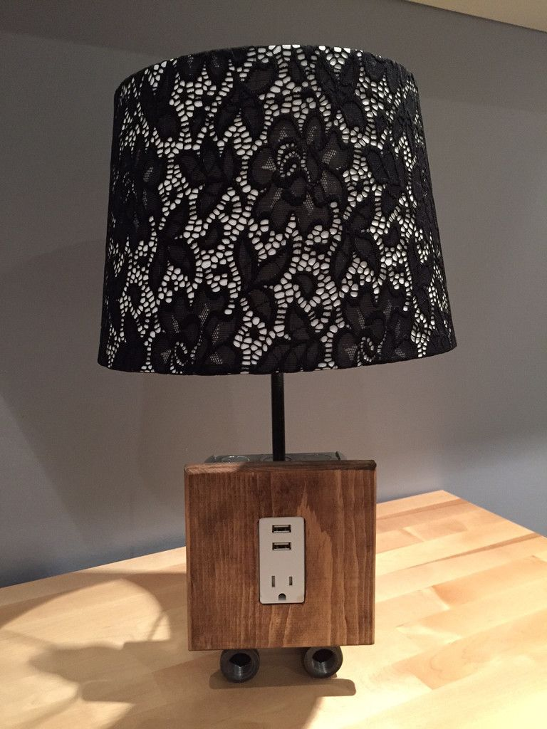 Table Lamp With Usb Charging Station Pine Faceplate Large