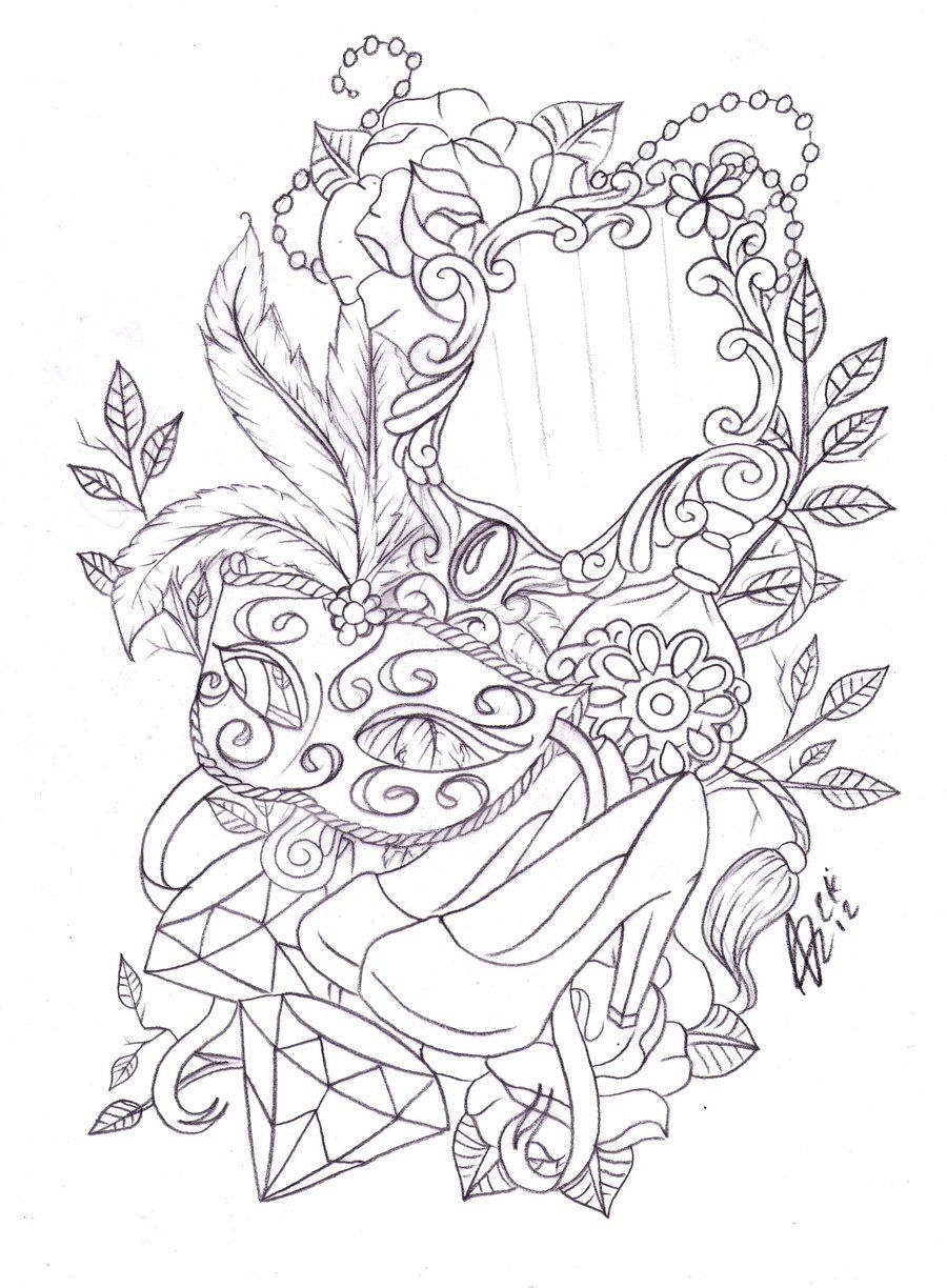 Leg mask and mirror tattoo sketch by nevermore ink on for Pintar marco espejo