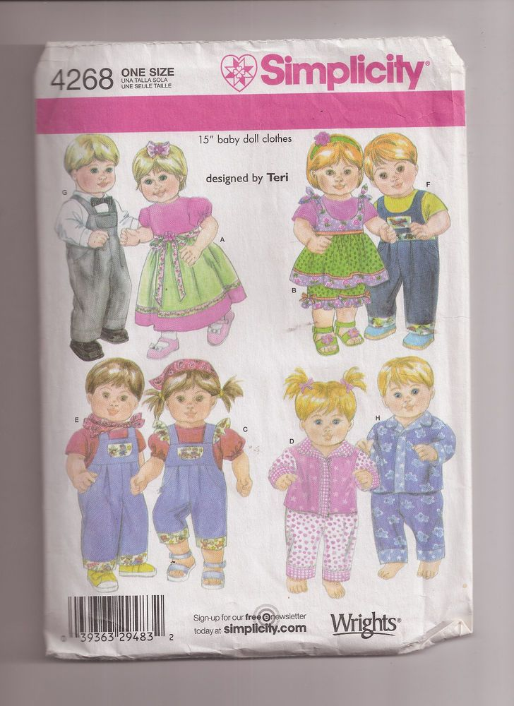 Simplicity 4268 15 Inch Baby Doll Clothes Pattern Fits