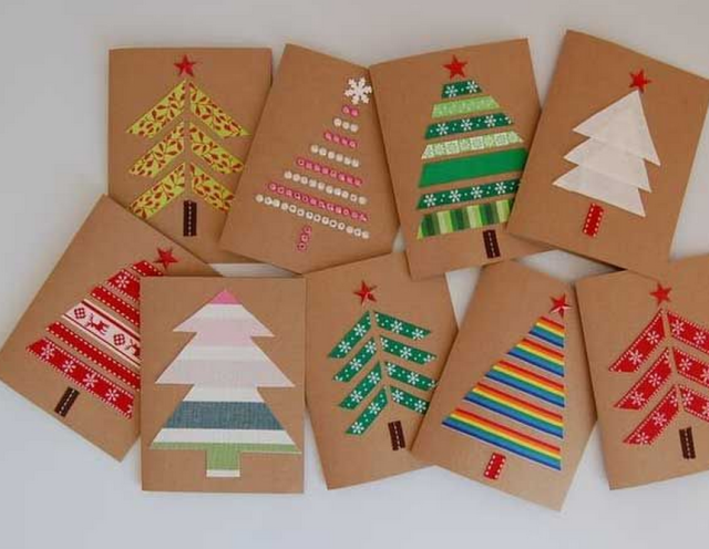 Beautiful Christmas Card Making Ideas 2014 Part - 6: Easy DIY Holiday Crafts - Forest Of Fabric - Click Pic For 25 Handmade  Christmas Cards Ideas For Kids