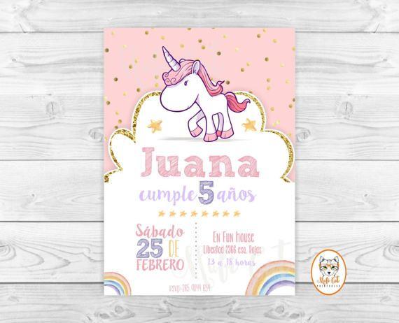 Arcoiris Unicornio Invitacion Cumpleaños Arcoiris Pastel