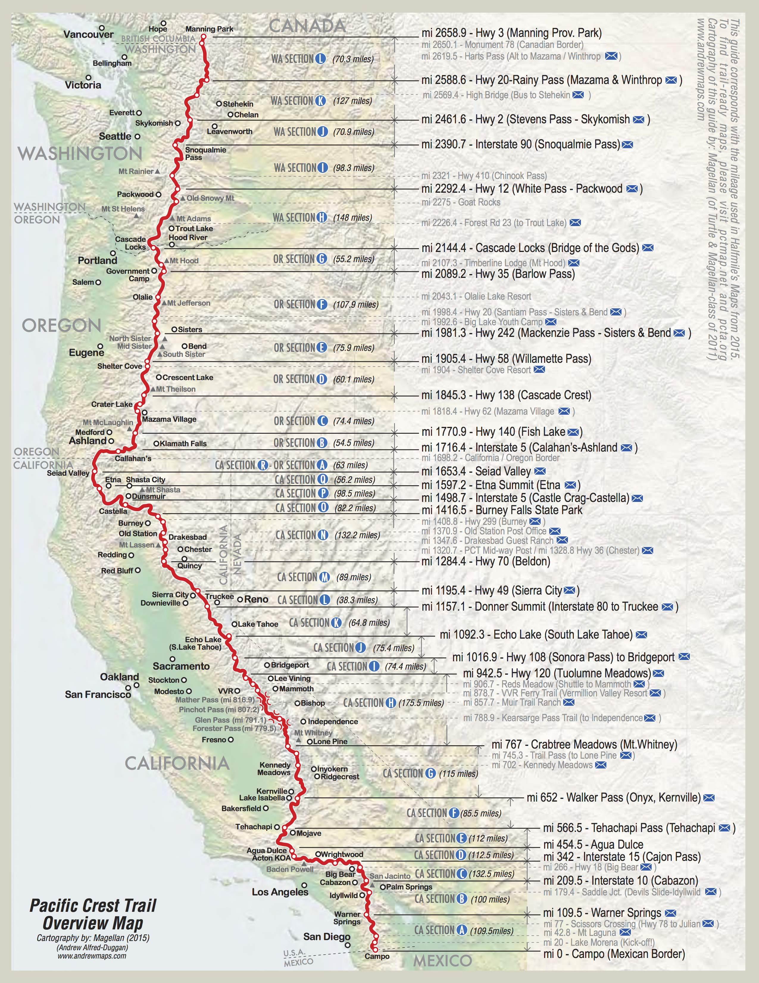 Canada California Map.Pct Map California California Map Take A Hike Hiking Hiking