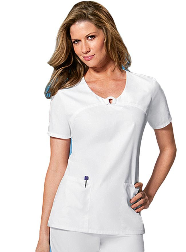 8ebd0108a13 Style Code: (CH-2702) This V-neck top features a decorative ring joined at  center front neck with stylized front yoke seam. Patch pockets, back  elastic and ...