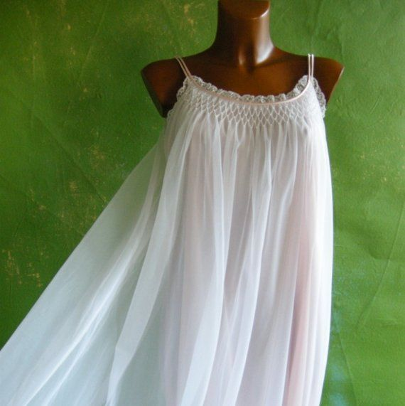 ON HOLD Pink Chiffon Smocked Pearls Vintage Nightgown