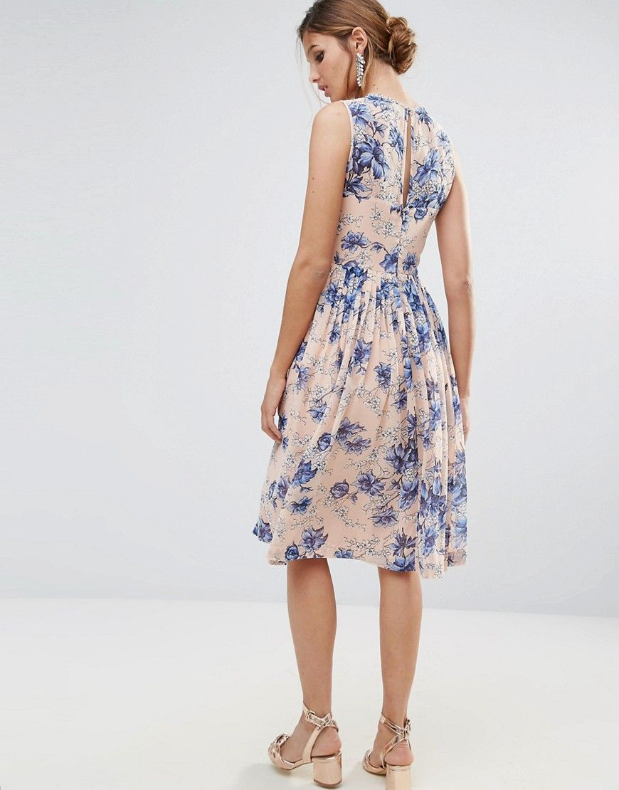 Midi Dress With Ruched Panel Detail In Pretty Floral Print