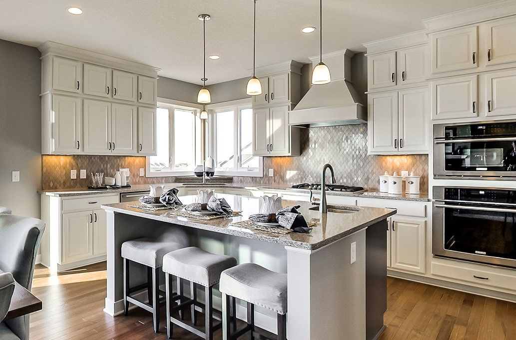 Beautiful White Cabinets + Grey Backsplash Kitchen In Eagan, Minnesota By D.R.  Horton #FindYourHome