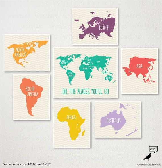 Nursery wall art world map set oh the plaes youll go nursery world map for kids playroom decor large world map poster nursery art gumiabroncs Images