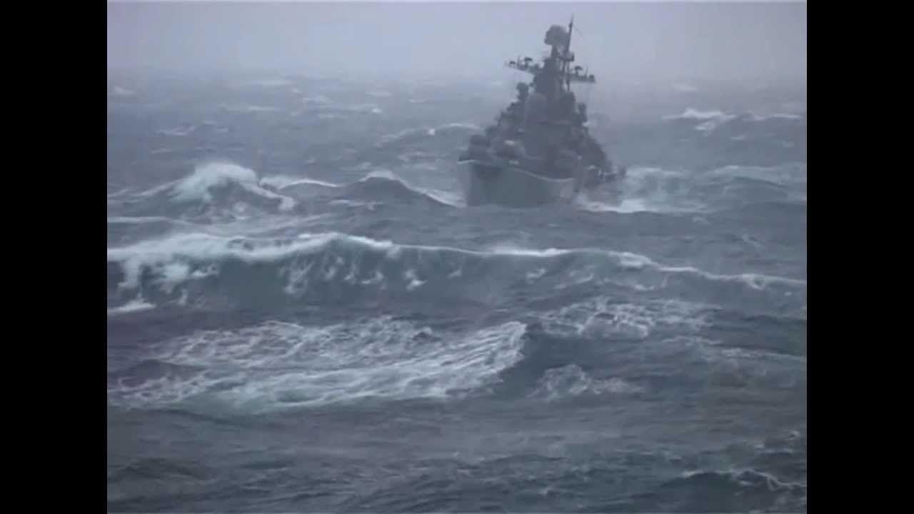 russian destroyer war ship in storm north atlantic trip