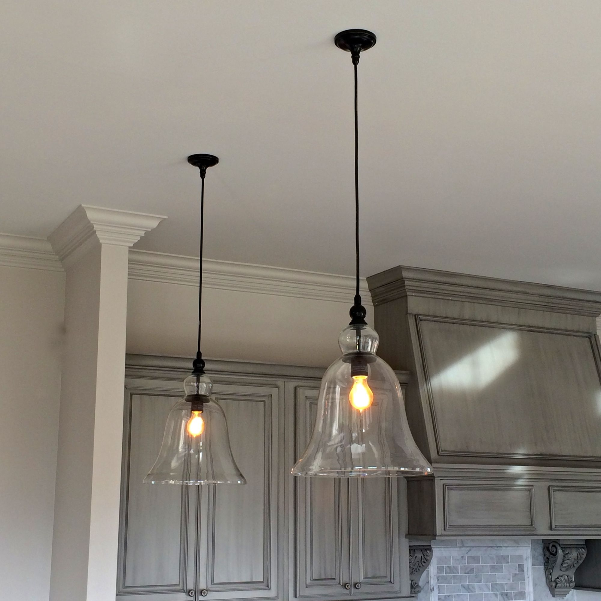 above kitchen counter large glass bell hanging pendant lights