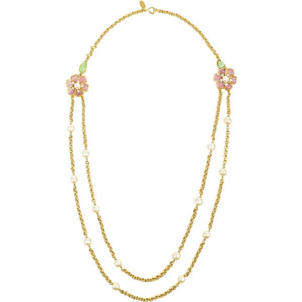Pre-Owned Vintage Chanel Gold Tone Pink Green Gripoix Faux Pearl... ($3,558) ❤ liked on Polyvore featuring jewelry, necklaces, gold, fake pearl necklace, colorful necklace, long chain necklace, pink flower necklace and pink necklace