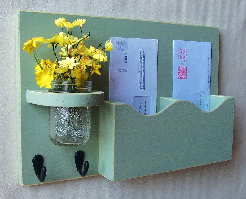 Mail Organizer - Mail Holder - Letter Holder - Double Slots - Key Hooks - Jar Vase - Organizer - Mail Holder. $29.95, via Etsy.