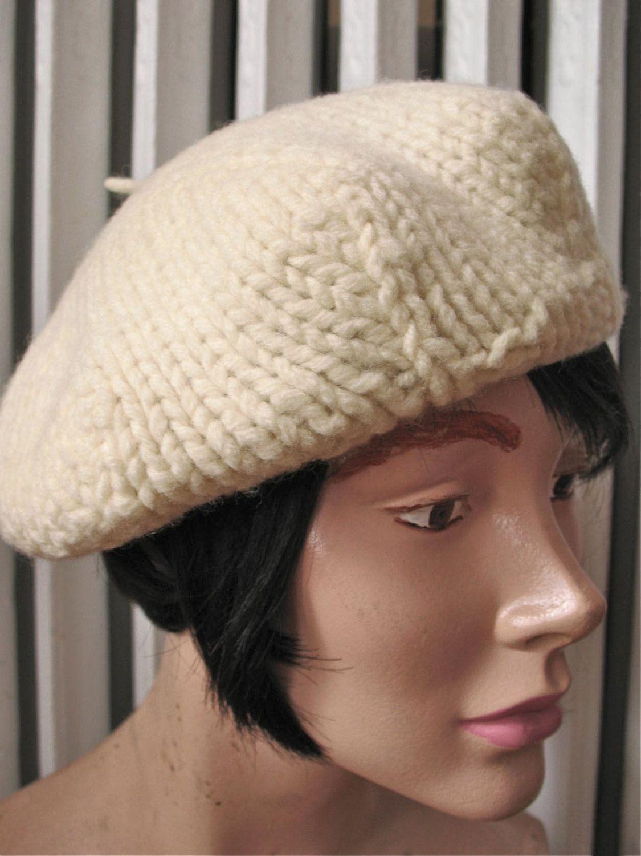 Tam Tam | Vintage 1960s Ivory Chunky Knit Tam Beret Handmade Wool Hat by BobbinsNBombshells on Etsy