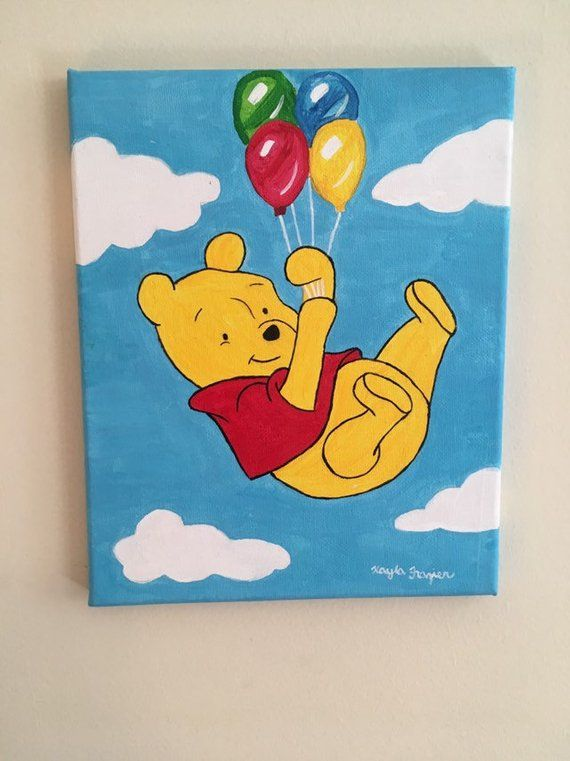 Cute Winnie The Pooh With Balloons Inspired 8x10 Acrylic Etsy Disney Canvas Art Funny Paintings Mini
