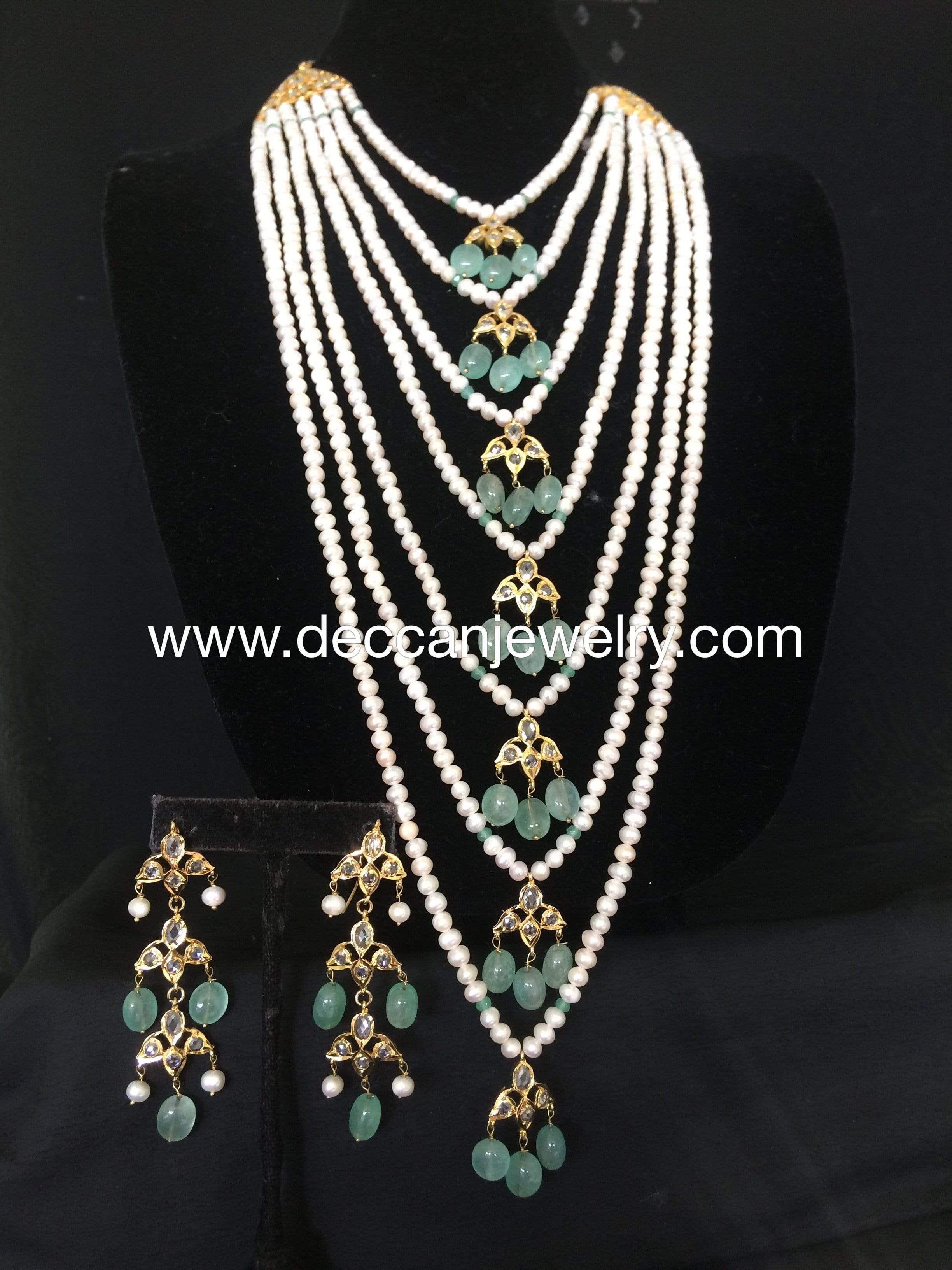 indian jewellery Soha hyderabadi jadau Satlada  with earrings in rubies