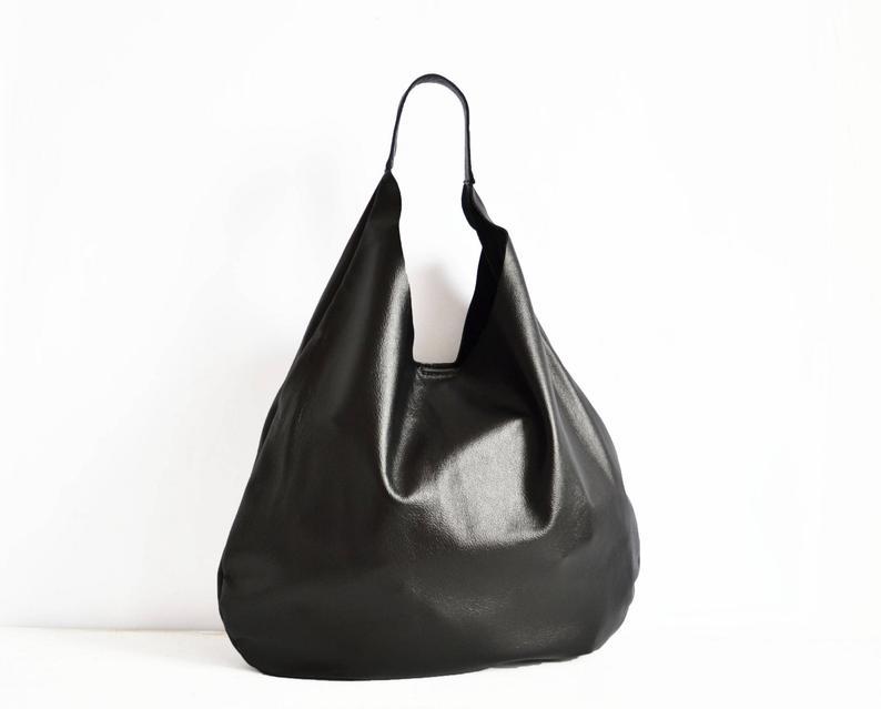 Supple Leather Bag Black Leather Hobo Black Handbag For Etsy Soft Leather Bag Leather Fringe Handbag Leather Bag