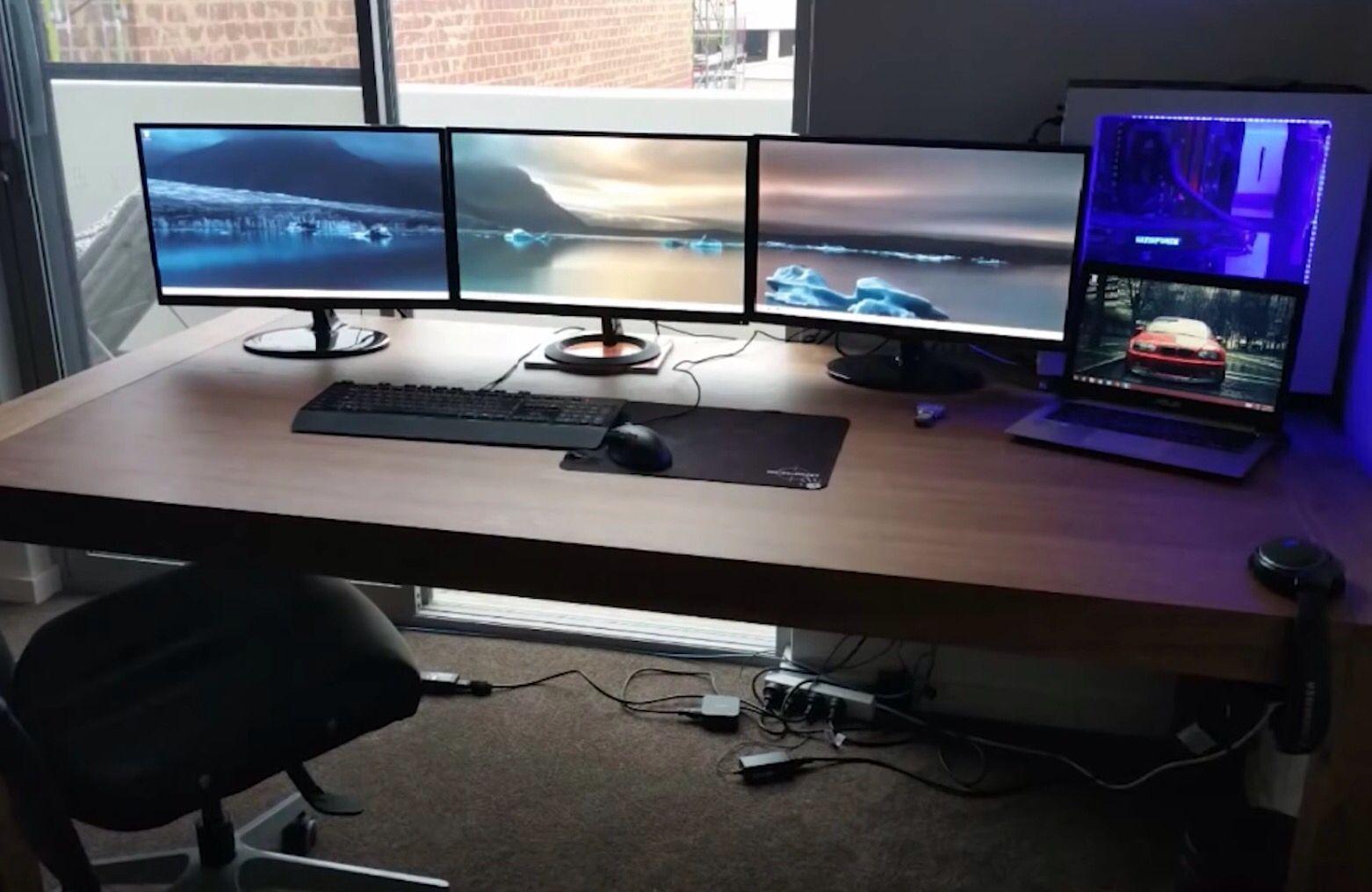 - Triple Monitor Setup Gaming Room Setup, Computer Setup, Pc Setup