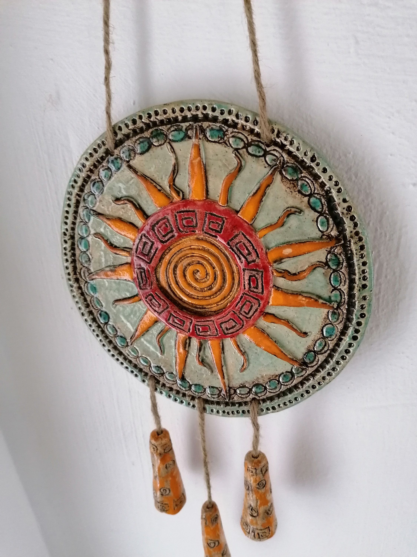 Mandala Keramik Yogascheibe Gartendeko Home Deko Keramikscheibe Mit Spirale Gold Gartenkeramik In 2020 Handmade Art Handmade Art