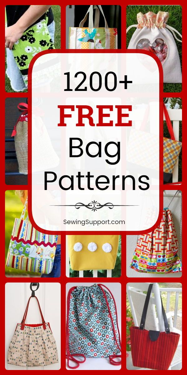 1200+ Free Bag Patterns to Sew #bagsewingpatterns