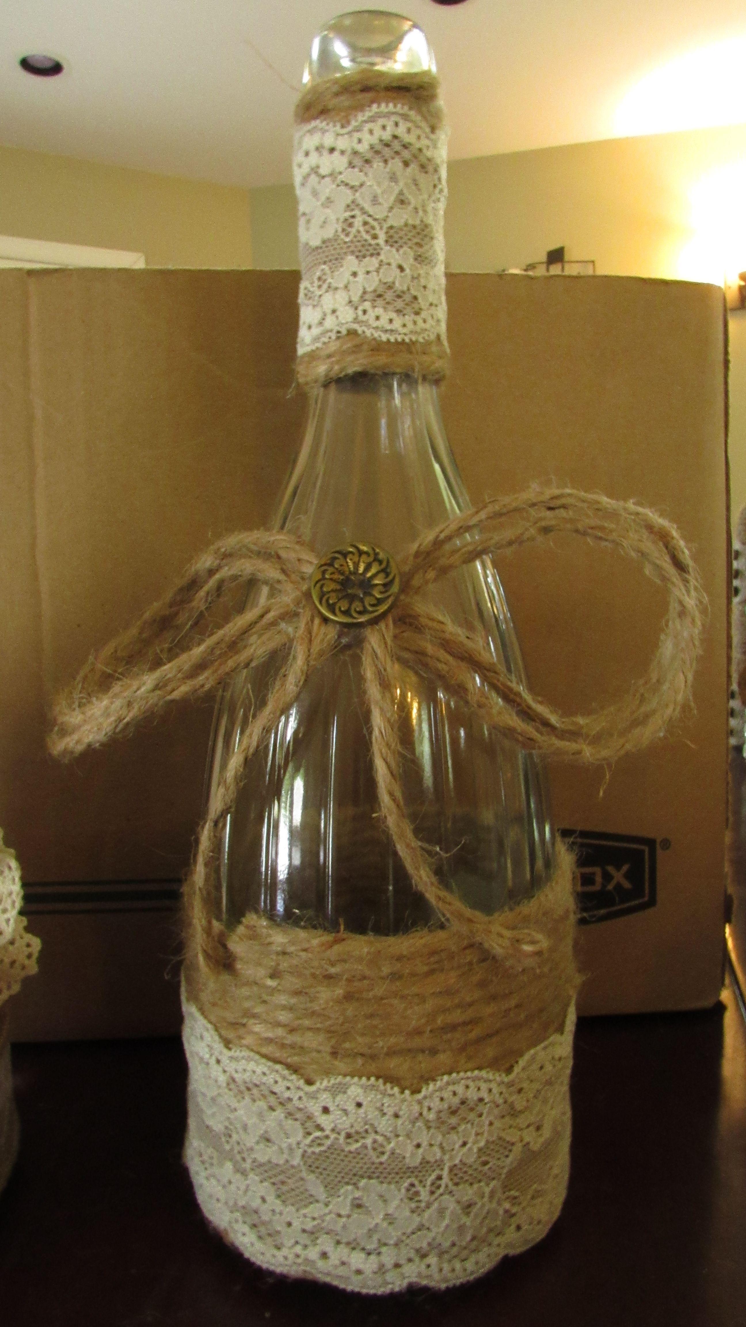 DIY Rustic Wine Bottle Centerpiece   Wine bottle centerpieces, Rustic wine  bottle, Bottles decoration