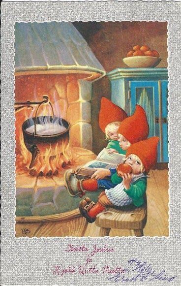 THREE BABY GNOMES  -               WARMING THEIR LITTLE TOES       Lars Carlsson