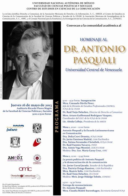 Homenajearán a Antonio Pasquali en la UNAM