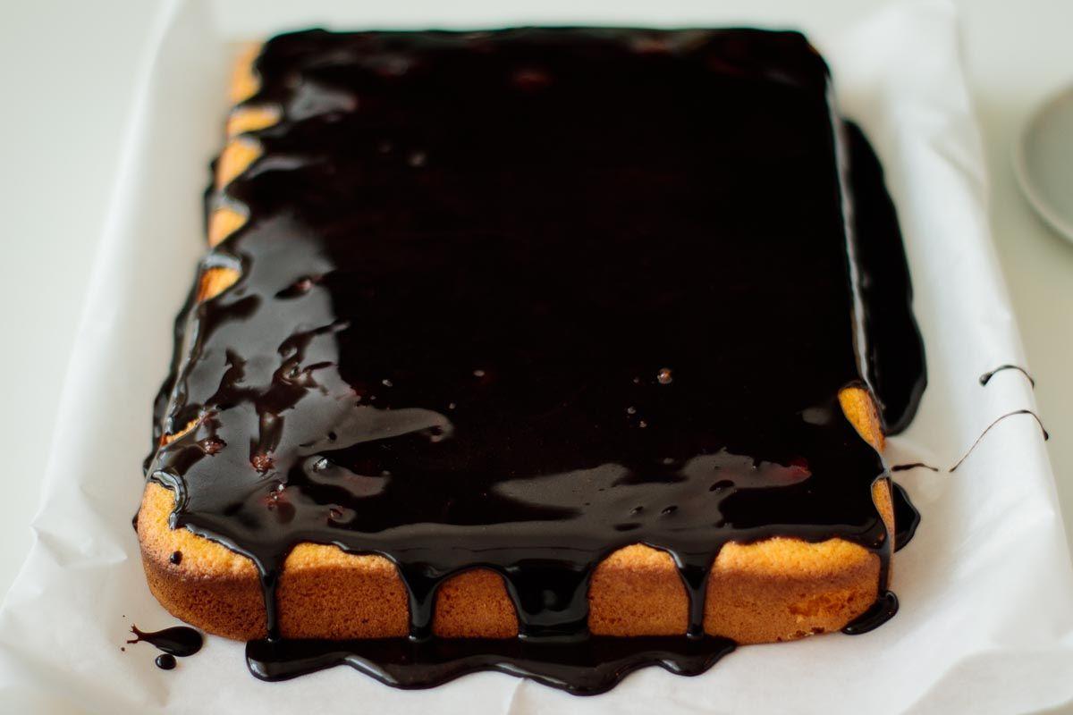 Brazilian carrot cake with simple chocolate glaze milk
