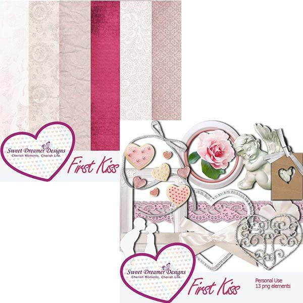First Kiss - Scrapbooking Kit Collection Sweet Dreamer Designs - $2.00 : ScrapPNG, Digital Craft Graphics