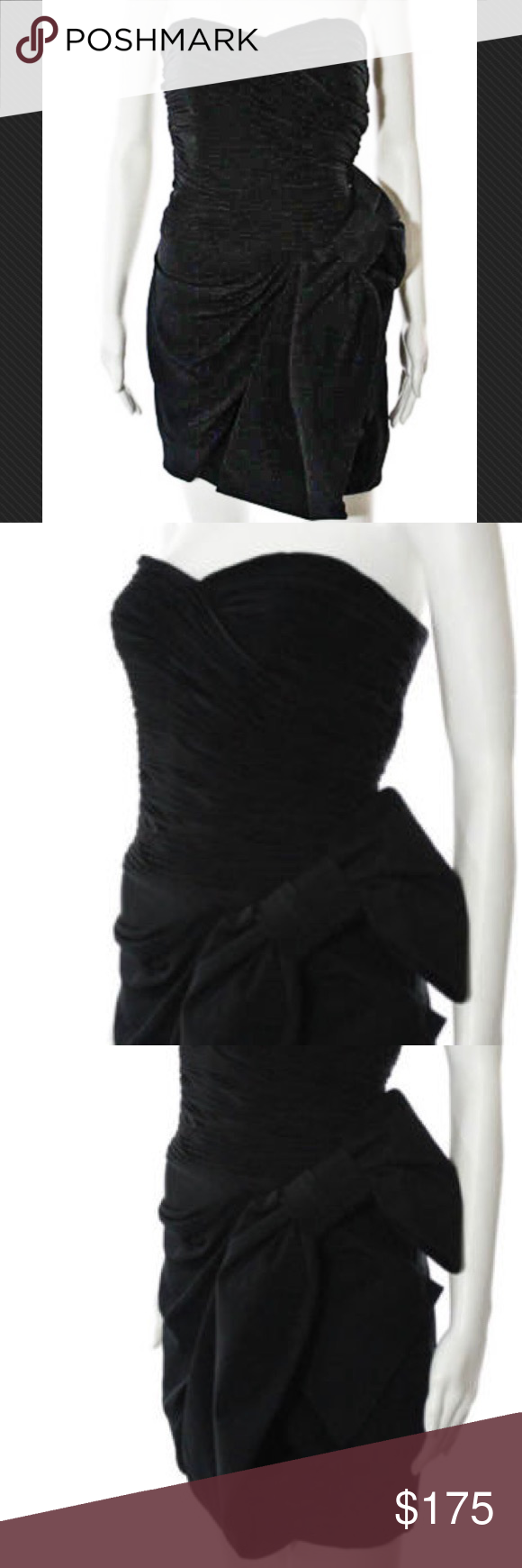 Marchesa Norte Sweetheart Bow Detail Dress Gorgeous black marchesa dress with dramatic bow detail on side Marchesa Dresses Mini
