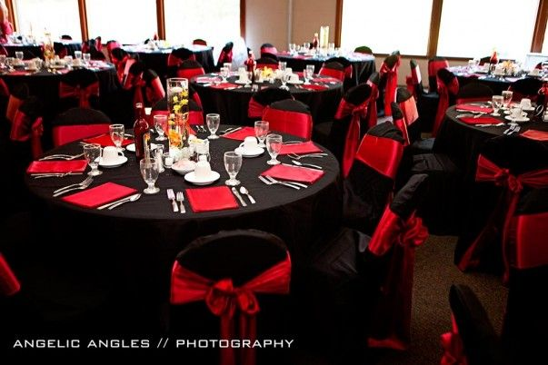 Photo 7 A N Reception Black And Red Round Tables Alluring Red Wedding Decorations Red Wedding Theme