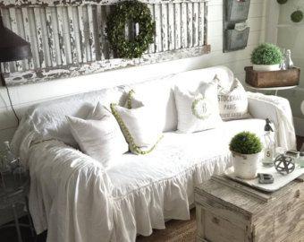 Elegant SlipCover   Ruffled Slipcover   Sofa Cover   Sofa Scarf   Slip Cover   Couch  Cover   Farmhouse Decor   Shabby Chic Sofa   Cottage