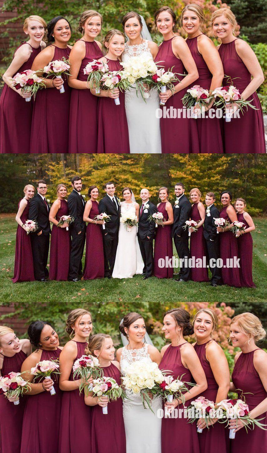 Charming chiffon sheath long sleeveless zip up bridesmaid dresses