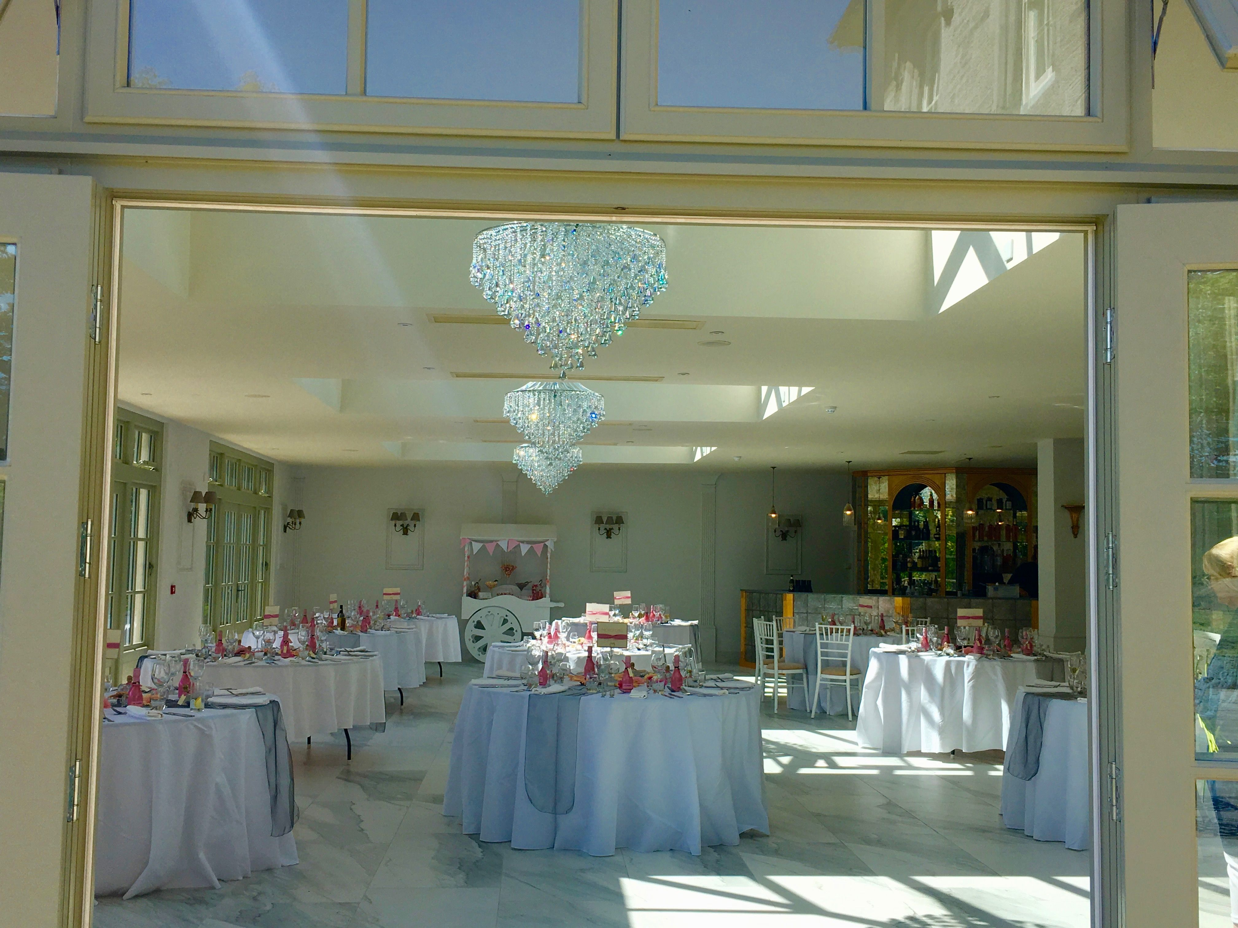 The Orangery Wedding Reception Is Set With A Silver And Pink Wedding