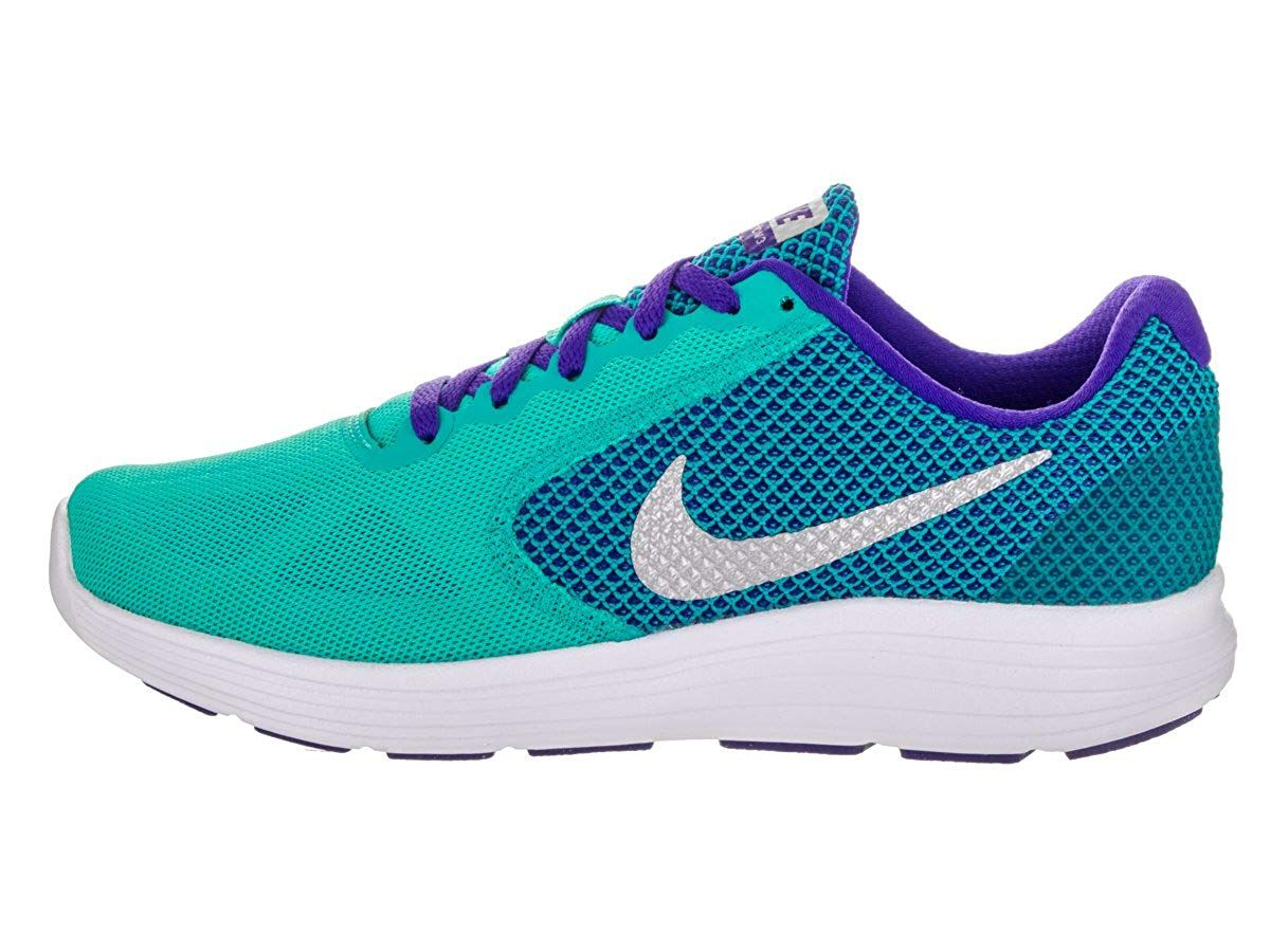 201a820e8 NIKE Women's Revolution 3 Running Shoe, Clear Jade Metallic Silver Fierce  Purple.This Is A Good Athletic Wear Shoe For Walking, Running Or Everyday  Wear.