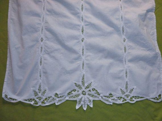 Reserved 3 Vintage Battenburg Lace Curtains White Cotton Etsy
