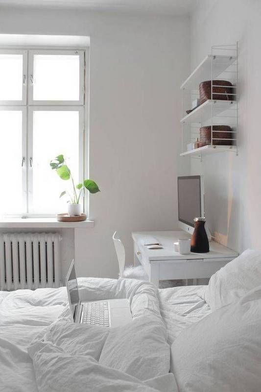 Best All White Room Ideas White Clean Bedroom Shelves Bedding
