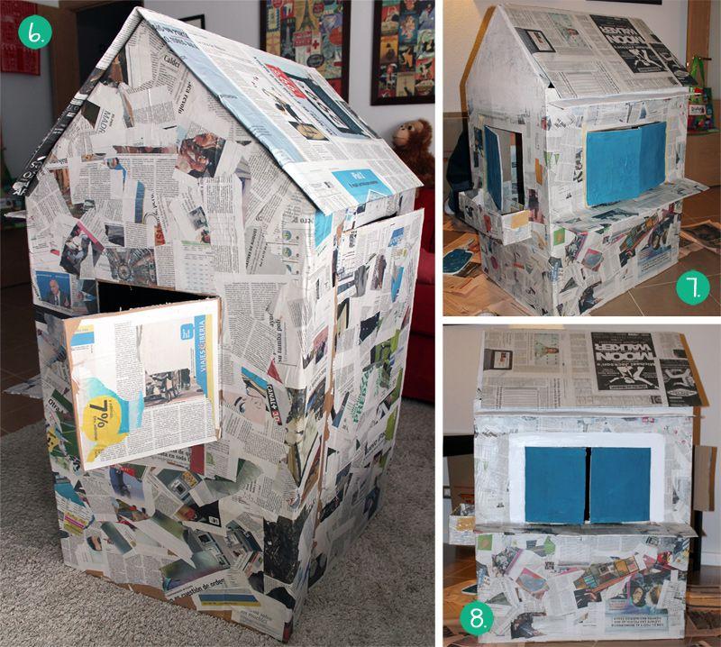 C mo hacer una casita de cart n empapelar y pintar - Como hacer casitas de madera para ninos ...