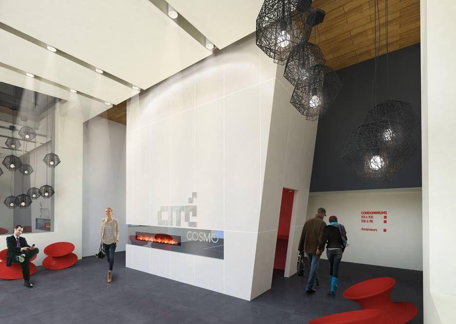 projet cit cosmo revit bim design int rieur halle d 39 entr e noir et blanc rouge vif. Black Bedroom Furniture Sets. Home Design Ideas