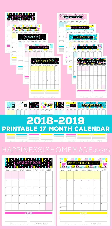 December 2019 Calendar Cut 17 Month Calendar: 2018 2019   Modern Memphis   Happiness is
