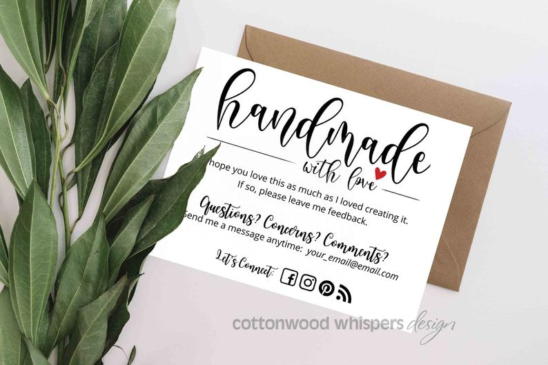 Handmade Item Thank You Cards Editable Canva Template Inserts For Online Shops Reseller Thank You Ebay Mercari Etsy In 2021 Business Thank You Cards Thank You Cards Business Thank You Notes