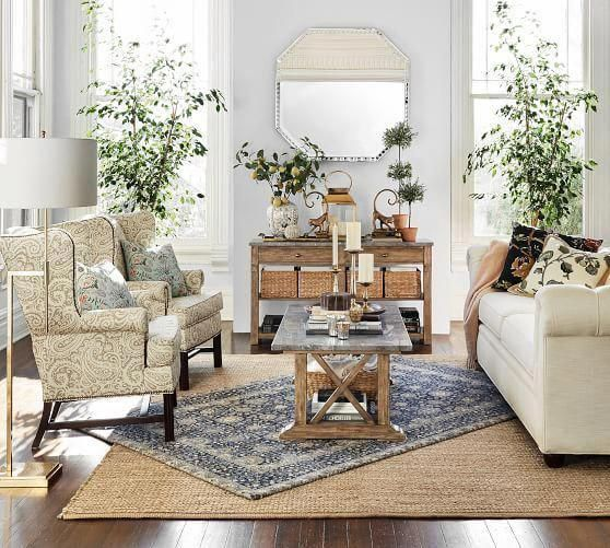 Pottery Barn Living Room With Carpet And Decorative Plant: Chunky Wool & Boucle-Woven Jute Rug, 5x8', Natural At