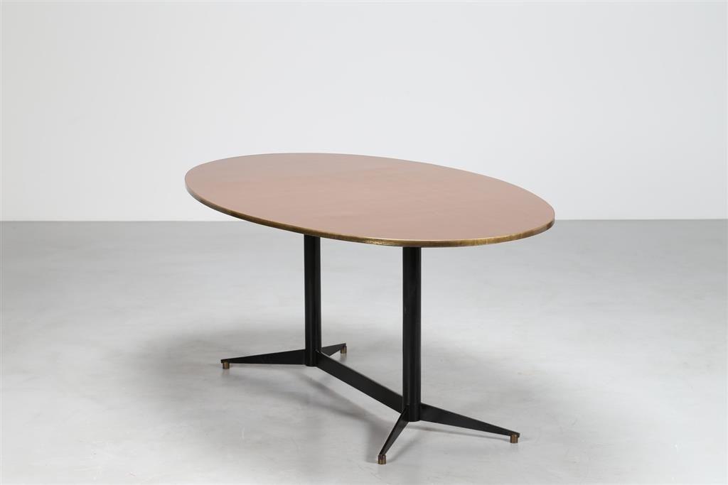 Tavolo Ovale ~ Ponti gio tavolo ovale in metallo laccato e ottone