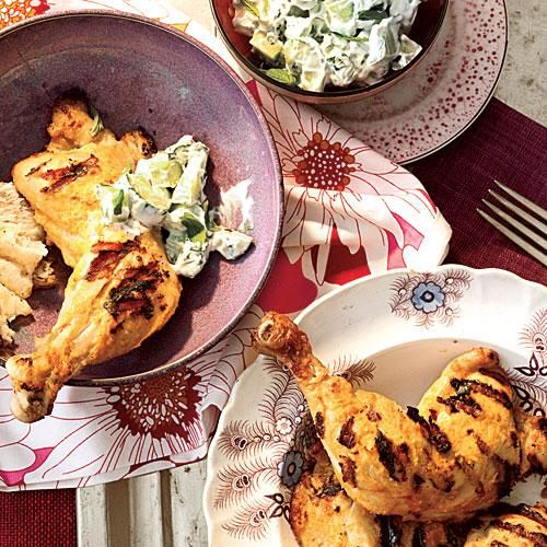 Tandoori Grilled Chicken with Mint Raita   Barbecued chicken, a backyard summer favorite, marinates here in a heady Indian spice blend and tangy yogurt. A cool, herby raita complements it perfectly.   Cooking Light