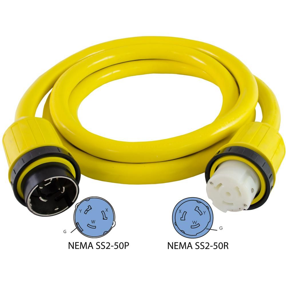 12 Ft 6 4 50 Amp 125 Volt 250 Volt Marine Shore Power 4 Wire Extension Cord Extension Cord Marine Cord