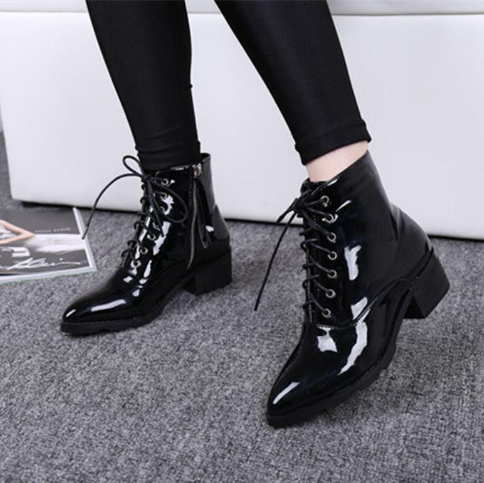 Shiny Womens Pointed Toe Block Heels