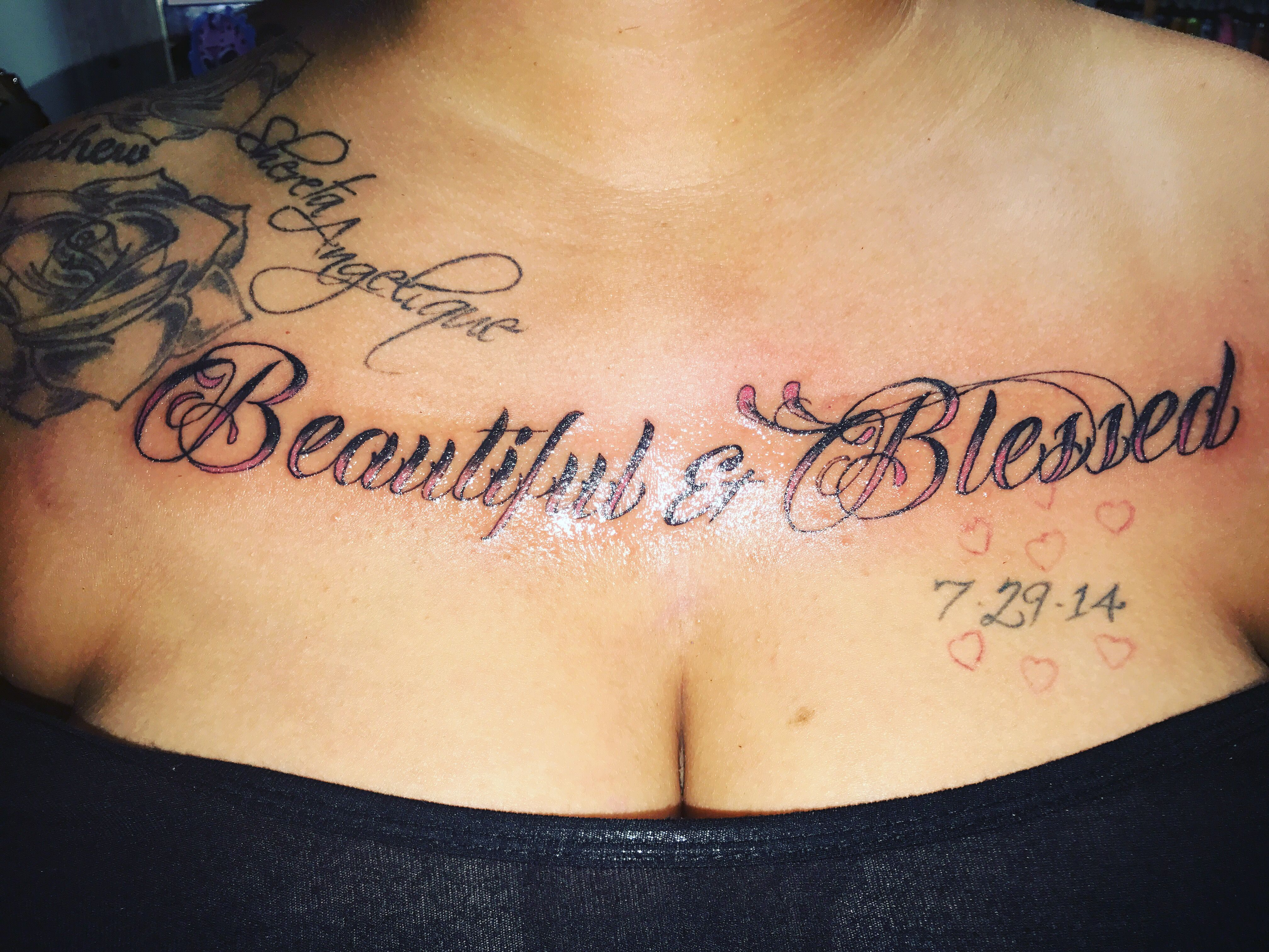 Beautiful And Blessed Chest Tattoo Blessed Tattoo On Chest Blessed Tattoos Chest Tattoo